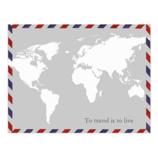 to travel is to live . worldmap postcard