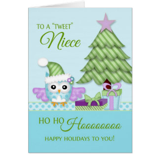 To 'Tweet Niece Happy Holiday Owl w/tree & present Card