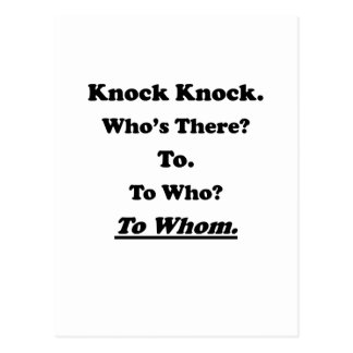 To Whom Knock Knock Joke Postcard