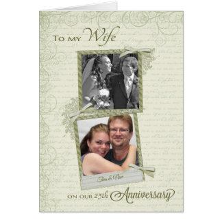 To Wife on __th Anniversary - Custom Then & Now Card