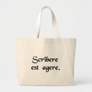 To write is to act canvas bags