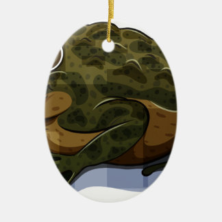 Toad Double-Sided Oval Ceramic Christmas Ornament