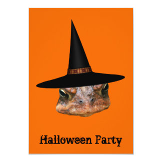 """Toad Face Witch Hat Halloween Invitation 5"""" X 7"""" Invitation Card"""