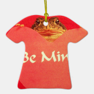Toad frog holding a heart that says Be Mine ? Christmas Ornament