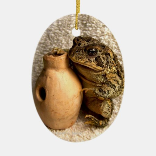 Toad frog holding miniature udu photograph christmas tree ornaments