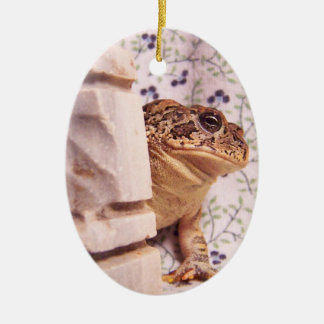 Toad frog marble chess piece prop flowered back Double-Sided oval ceramic christmas ornament