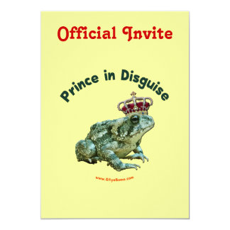 Toad Frog Prince in Disguise 13 Cm X 18 Cm Invitation Card