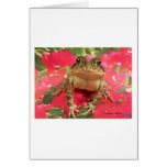 Toad frog standing up against bougainvillea back note card