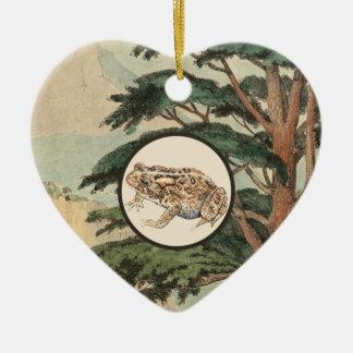 Toad In Natural Habitat Illustration Ceramic Heart Decoration
