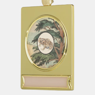 Toad In Natural Habitat Illustration Gold Plated Banner Ornament