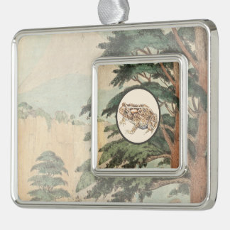 Toad In Natural Habitat Illustration Silver Plated Framed Ornament
