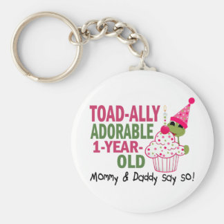 Toadally Adorable 1-Year Old Basic Round Button Key Ring