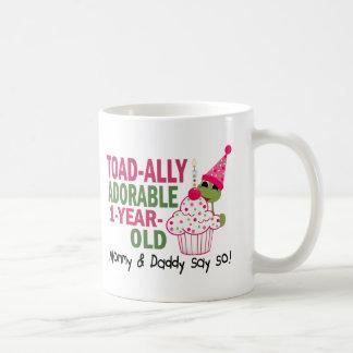 Toadally Adorable 1-Year Old Basic White Mug