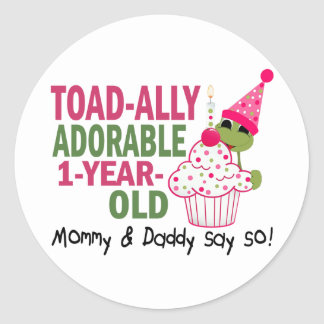 Toadally Adorable 1-Year Old Round Sticker