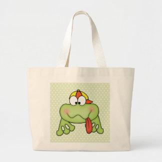 Toadally Cute Boy Frog Jumbo Tote Bag