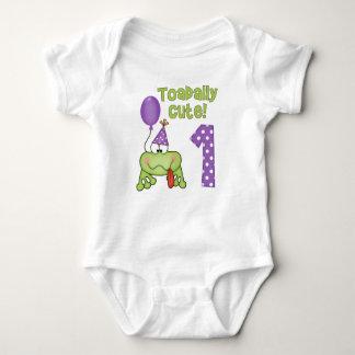 Toadally Cute Frog 1st Birthday Baby Bodysuit