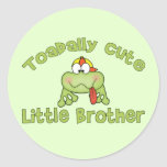 Toadally Cute Little Brother Round Sticker