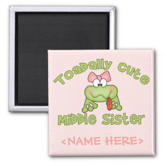 Toadally Cute Middle Sister Square Magnet