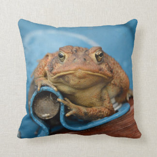 Toadly Love Blue Toad Throw Pillow