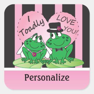 Toadly Love You Valentine | Personalize Square Sticker