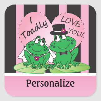 Toadly Love You Valentine | Personalize Square Stickers