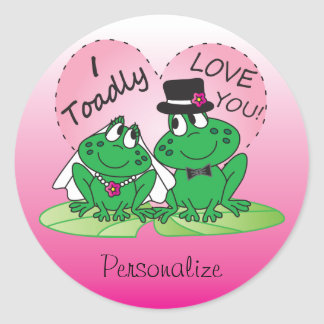 Toadly Love You Valentine Round Stickers