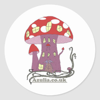 Toadstool Castle (colour) Round Sticker