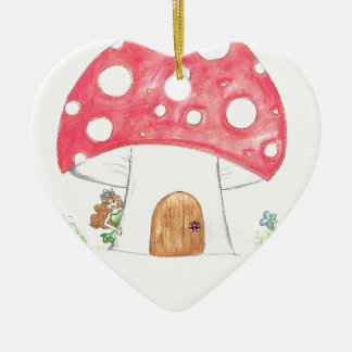 Toadstool Fairy Girl water colour print gift Ceramic Heart Decoration