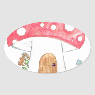 Toadstool Fairy Girl water colour print gift Oval Sticker