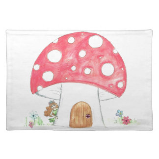 Toadstool Fairy Girl water colour print gift Placemat