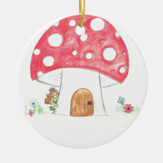Toadstool Fairy Girl water colour print gift Round Ceramic Decoration