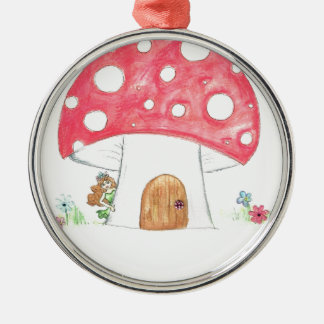 Toadstool Fairy Girl water colour print gift Silver-Colored Round Decoration