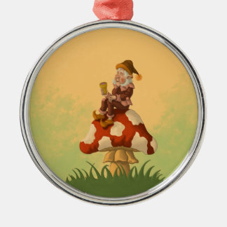 toadstool gnome round metal christmas ornament