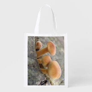 Toadstools on a Tree Trunk Reusable Bag