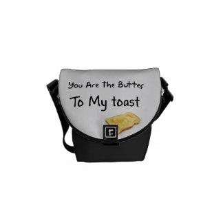 Toast Bread Love Words Messenger Bags