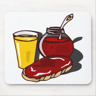 Toast, orange juice and jam mousemats