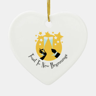 Toast To New Beginnings Ceramic Heart Decoration