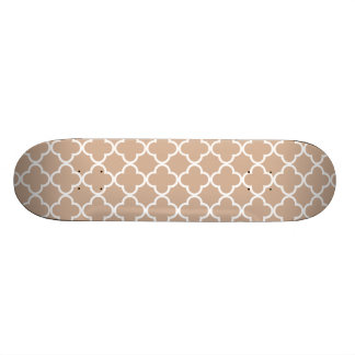 Toasted Almond and White Quatrefoil Moroccan Patte Skate Decks