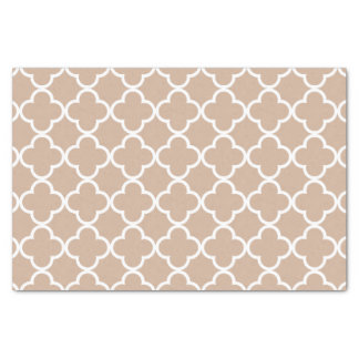 Toasted Almond and White Quatrefoil Moroccan Patte Tissue Paper