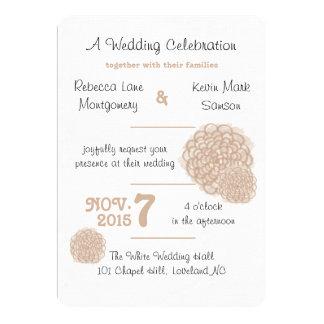 Toasted Almond Hydrangea Wedding Invitation