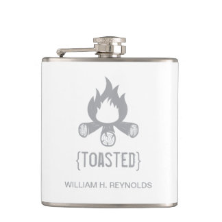 {TOASTED} Bridal Party Toasted Campfire (grey) Hip Flask