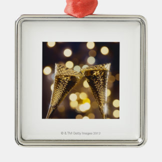 Toasted champagne flute, close-up christmas ornament