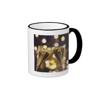 Toasted champagne flute, close-up mugs