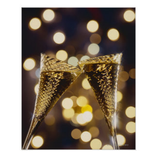 Toasted champagne flute, close-up poster