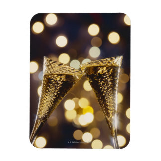 Toasted champagne flute, close-up rectangular photo magnet