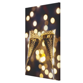 Toasted champagne flute, close-up stretched canvas prints