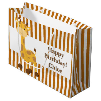 Toasted Orange-White Stripes•Custom Large Gift Bag