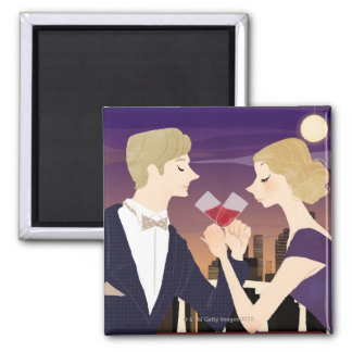 Toasting Glasses Square Magnet