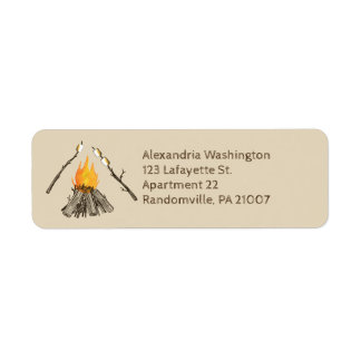 Toasting Marshmallows Campfire Return Address Return Address Label
