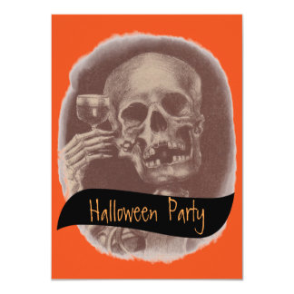 Toasting Skeleton Fun Halloween Party Invitations